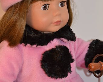 """Pretty Pink Fleece Coat and Hat for Your 18"""" Doll"""