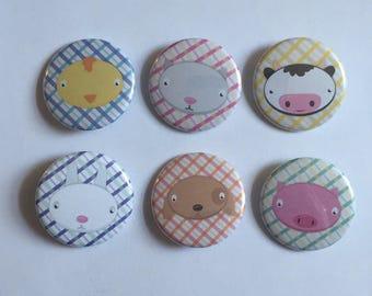Farm Animals Pinback Button Set (6)
