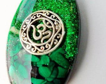 Malachite Orgone Pendant - with OM charm - orgone energy - organite - zen jewelry