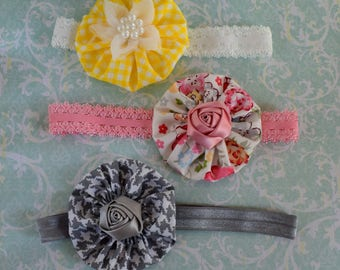 Baby headband set 3 yoyo hairband bows handmade yellow pink gray newborn baby girls