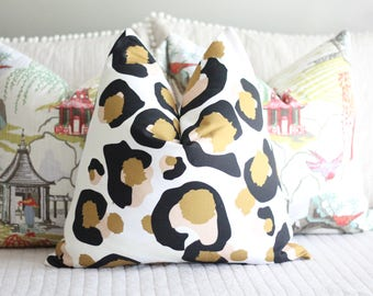 bright pillow cover // emily mccarthy fabric // cotton and quill // leopard print pillow // chinoiserie // spot cheetah pillow cover