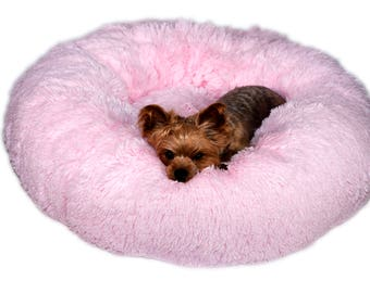PLUSH PINK SHAG:  Ultra Plush Soft Shag Cuddle Pet Bed, Dog Bed, Cat Bed, Pet Furniture for Dog or Cat, Small and Medium Pet Bed