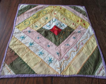 Antique Embroidered Doll Quilt Vintage Embroidery