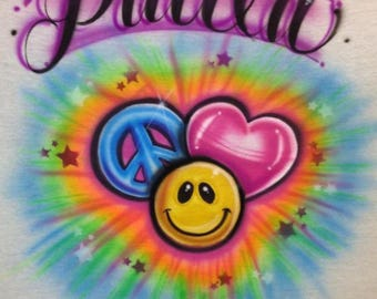 Emoji shirt, peace sign shirt, heart t shirt, Airbrush t shirt, kids shirt, emoji birthday shirt, emoji invitation, emoji party, poop emoji,