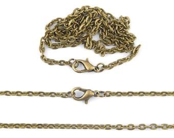 x 2 necklace bronze mesh chain 51cm (09 (A)