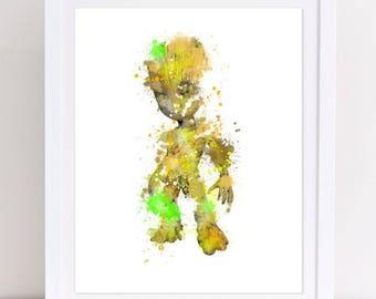 70% baby grut watercolor, watercolor guardians of the galaxy, baby grut poster, guardians watercolor, boys room decor, nursery poster, kids