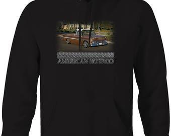American Hotrod Chevy C10 Truck Fleetside Classic Restored Hooded Sweatshirt- 5109