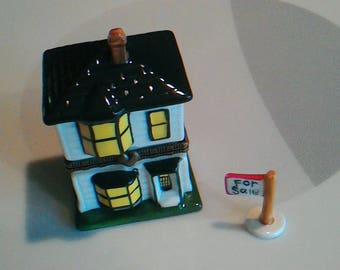 Vintage 2-Story House Hinged Trinket Box With For Sale/Sold Sign Trinket