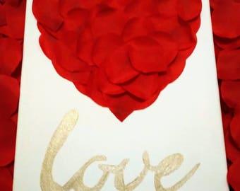 Red rose petals canvas