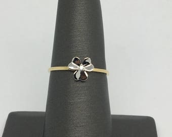 14K Two-Tone Gold Small Flower CZ Ring