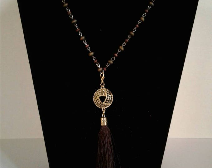 Wood Beaded Tassel Necklace, Statements Piece, Black and Brown, Beadwork, Popular Style, Gift for Women, Yarn Tassel, Diamond Center Piece.