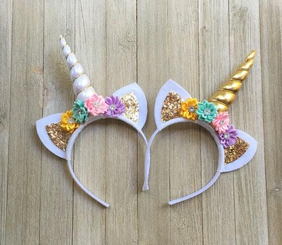 unicorn headband yellow aqua pink lavender gold unicorn