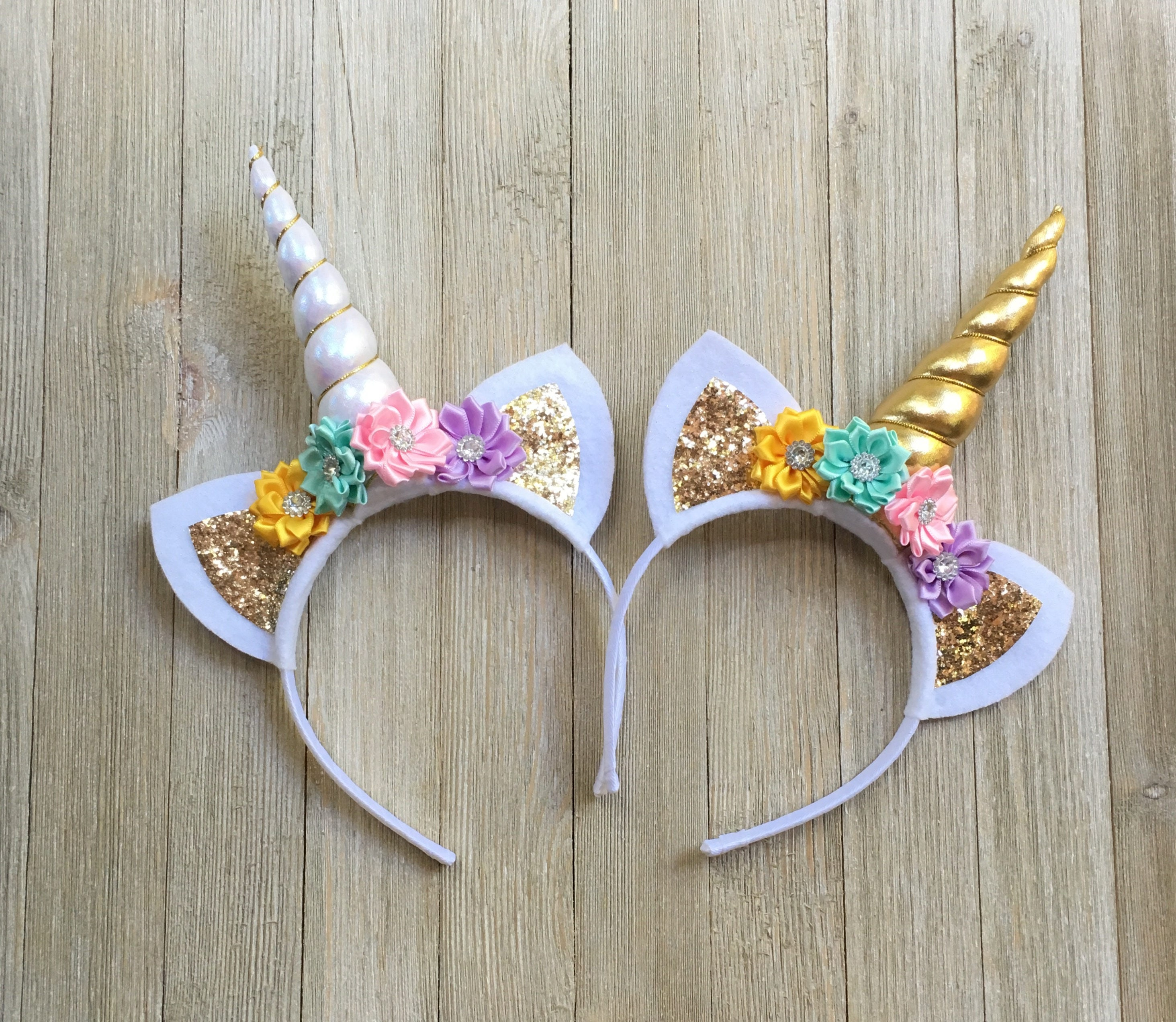 Unicorn Headband Yellow Aqua Pink Lavender Gold Unicorn
