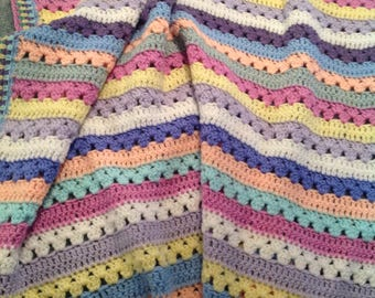 Lapghan, Throw, Afghan, Crochet Blanket, Multi-coloured Coverlet, Baby Blanket