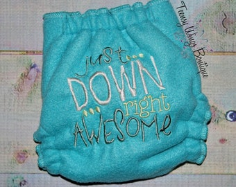 Custom embroidered two layer fleece diaper cover. Just down right awesome
