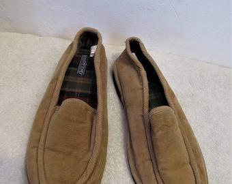 Men's Vintage 90's,Tan CORDUROY Slippers By LANDS' END.11M