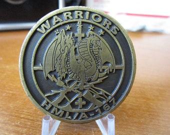 Marine Light Attack Helicopter SQ 167 HMLA-167 Warriors Challenge Coin #4186