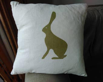 Screen Printed Hare cushion Cover