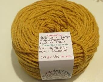 Hand dyed yarn 70% French wool - 30% polyamide, spun in France,