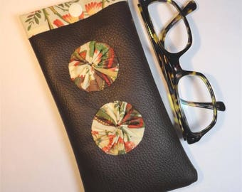 Inside brown leather glasses case fabric exotic foliage