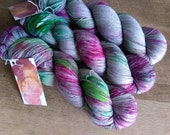 SIDEWALK FIESTA Hand Dyed Fingering Sock Speckled Yarn! Grey with Pink and Green!