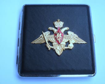 Russian Vintage Cigarette Case with an autocracy symbol of St. Petersburg/ USSR Cigarette Case/Double Sided Cigarette Case,Unused