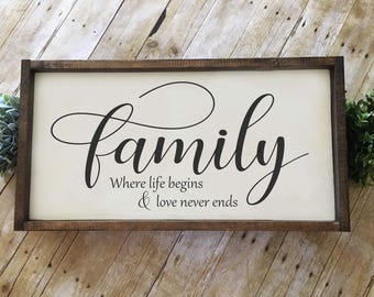 Family Where Life Begins & Love Never Ends | Hand-painted Wood Sign | Farmhouse Sign | Rustic Sign | Family Sign |  24x12