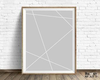 Abstract art print Modern art print Geometric print Geometric art Geometric poster Grey geometric decor Nordic abstract art Above bed art