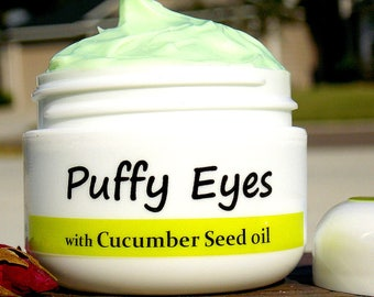 Puffy Eyes - Eye cream with 100% Pure Cold pressed Unrefined Organic Cucumber Seed oil/ Wrinkle Cream/Anti Aging/ Natural Handmade SkinCare