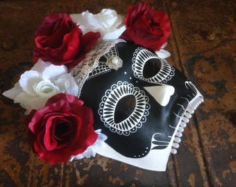 Black, White and Red 'Día de Muertos', Day of the Dead Skull Mask