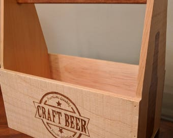 Wooden craft beer carrier wood burned by hand