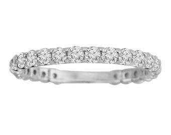1.00ct Round Cut Diamond 14k White Gold Almost Eternity Wedding Band Ring