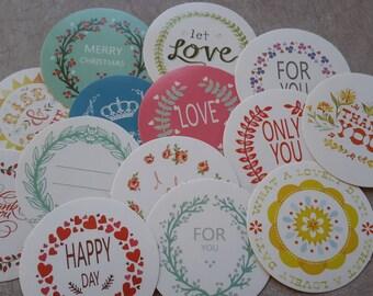 15 pcs Stickers Planner stickers, love, round Stickers, vintage Stickers