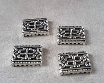 Separator rectangular bead, vintage rectangle spacer beads, MULTISTRAND silver Metal bar bead
