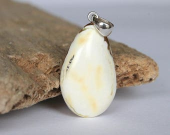 White amber pendant, drop amber jewelry, sterling silver, white color amber bead, pendants, natural Baltic amber, unique amber bead, amber