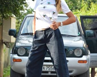 Dark Blue Linen Pants, Drop Crotch Harem Pants, Maxi Trousers, Extravagant Oversize Pants, Summer Casual Pants by SSDfashion