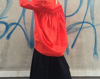 Asymmetric Orange Soft Cotton Shirt, Oversize Dress, Loose Sleeves Tunic, Extravagant Shirt, Orange Shirt by SSDfashion