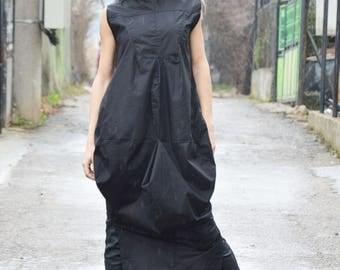 Black Extravagant Cotton Fashion Dress, Maxi Plus Size Kaftan, Loose Casual Sleeveless Dress by SSDfashion