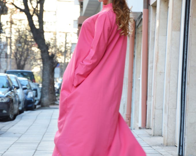 Oversize Long Dress, Extravagant Pink Kaftan Maxi Dress, Long Sleeves, Loose Dress, Side Pockets by SSDfashion