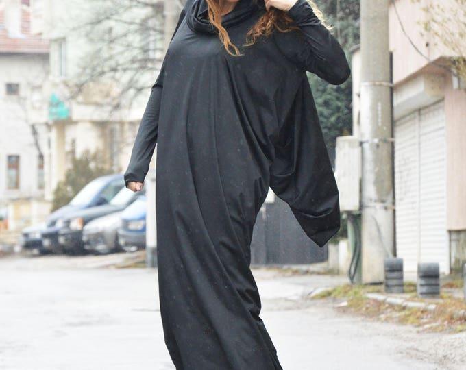 Extravagant Black Maxi Dress, Asymmetric Turtleneck Dress, Sexy Long Black Kaftan, Party Dress by SSDfashion