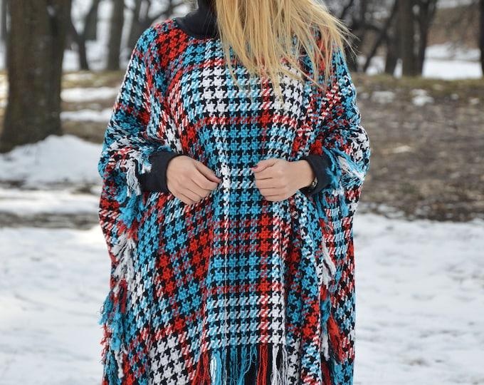 Women's Turtleneck Poncho, Wool Sweater Jacket, Plus Size Coat, Shepherd's Plaid Coat, Cape Coat, Loose Cardigan by SSDfashion