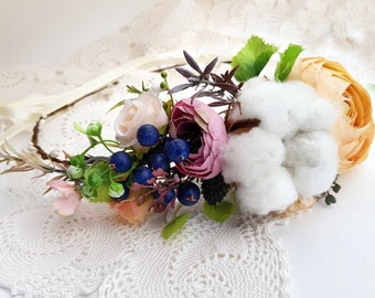 Winter Flower crown Floral hair wreath Fall flower crown Bridal flower crown Cotton flower crown Flower halo Bridal headpiece