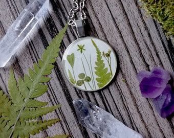 Fern Pendant Pressed Real fern necklace Gift terrarium pendant herbarium leaves jewelry clover pendant elwish Resin fern and clover pendant