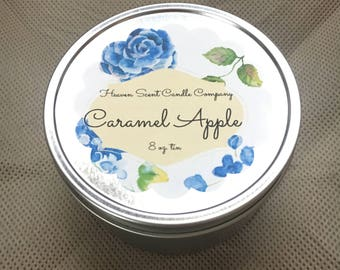 Caramel Apple hand-poured soy wax candle in 8oz tin