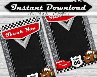 Thank you Card Cars, Blank Card, Instant download, pdf jpg - Rayo McQueen