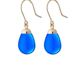 earrings dark blue resin and gold