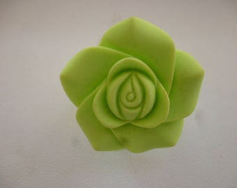 Lime and silver resin flower ring.