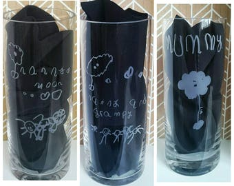 Engraved Vase - Your Child's Drawing and Handwriting engraved on a vase - Unique Gift - Mum, Nan, Christmas,  Birthday