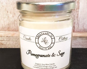 Organic Soy Pomegranate Sage Candle- Vegan Candle- Scented Candle- Holiday Gifts- White Candle- Essential Oil Scented- Home-Friendly