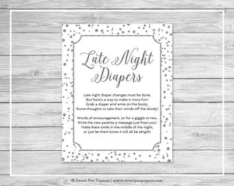 White and Silver Baby Shower Late Night Diapers Sign - Printable Baby Shower Late Night Diapers Sign - White and Silver Baby Shower - SP154